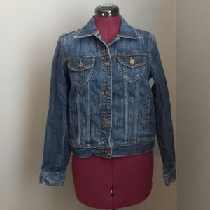 Mudd Denim 6-Pocket Pointed Collar Jacket